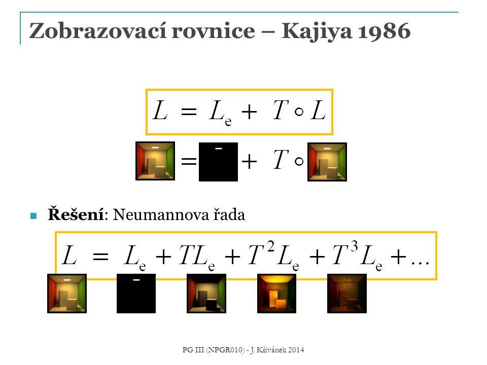Řešení: Neumannova řada Zobrazovací rovnice – Kajiya 1986 PG III (NPGR010) - J. Křivánek 2014