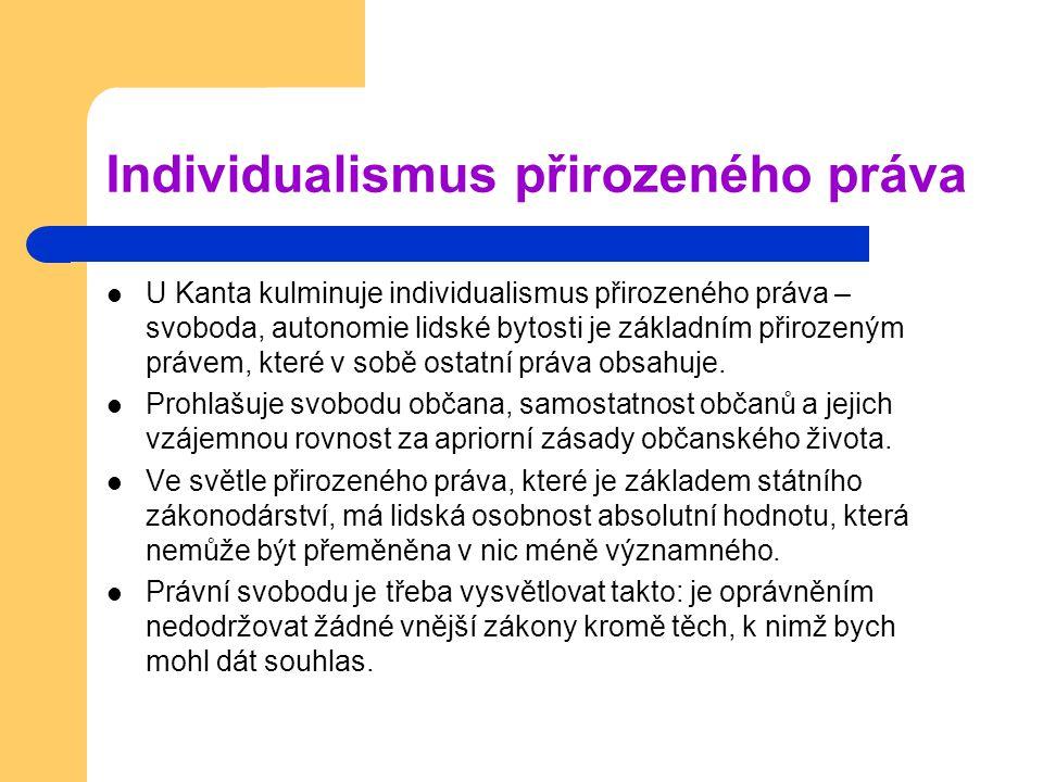 Individualismus přirozeného práva U Kanta kulminuje individualismus přirozeného práva – svoboda, autonomie lidské bytosti je základním přirozeným práv
