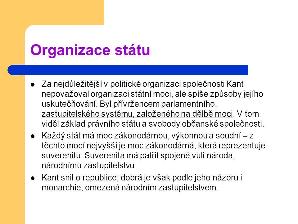 Organizace státu Za nejdůležitější v politické organizaci společnosti Kant nepovažoval organizaci státní moci, ale spíše způsoby jejího uskutečňování.