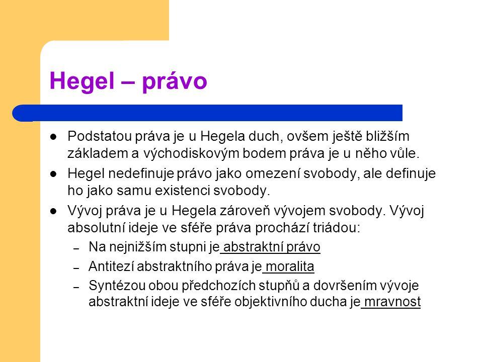 Hegel – právo Podstatou práva je u Hegela duch, ovšem ještě bližším základem a východiskovým bodem práva je u něho vůle. Hegel nedefinuje právo jako o