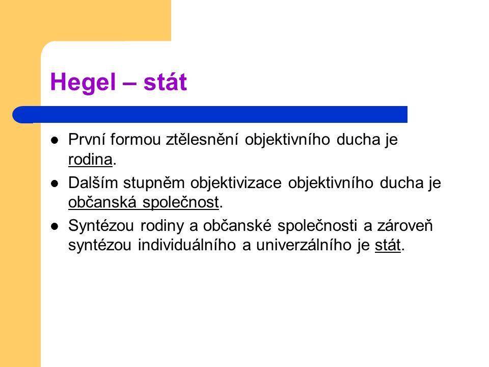 Hegel – stát První formou ztělesnění objektivního ducha je rodina. Dalším stupněm objektivizace objektivního ducha je občanská společnost. Syntézou ro