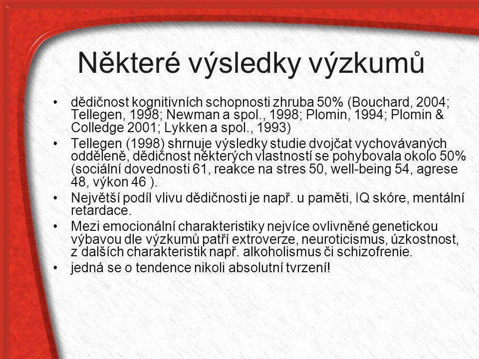 Některé výsledky výzkumů dědičnost kognitivních schopnosti zhruba 50% (Bouchard, 2004; Tellegen, 1998; Newman a spol., 1998; Plomin, 1994; Plomin & Co