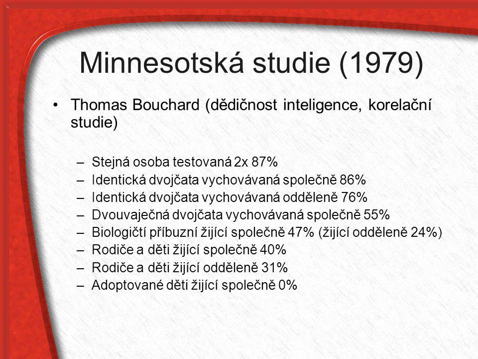 Minnesotská studie (1979) Thomas Bouchard (dědičnost inteligence, korelační studie) –Stejná osoba testovaná 2x 87% –Identická dvojčata vychovávaná spo