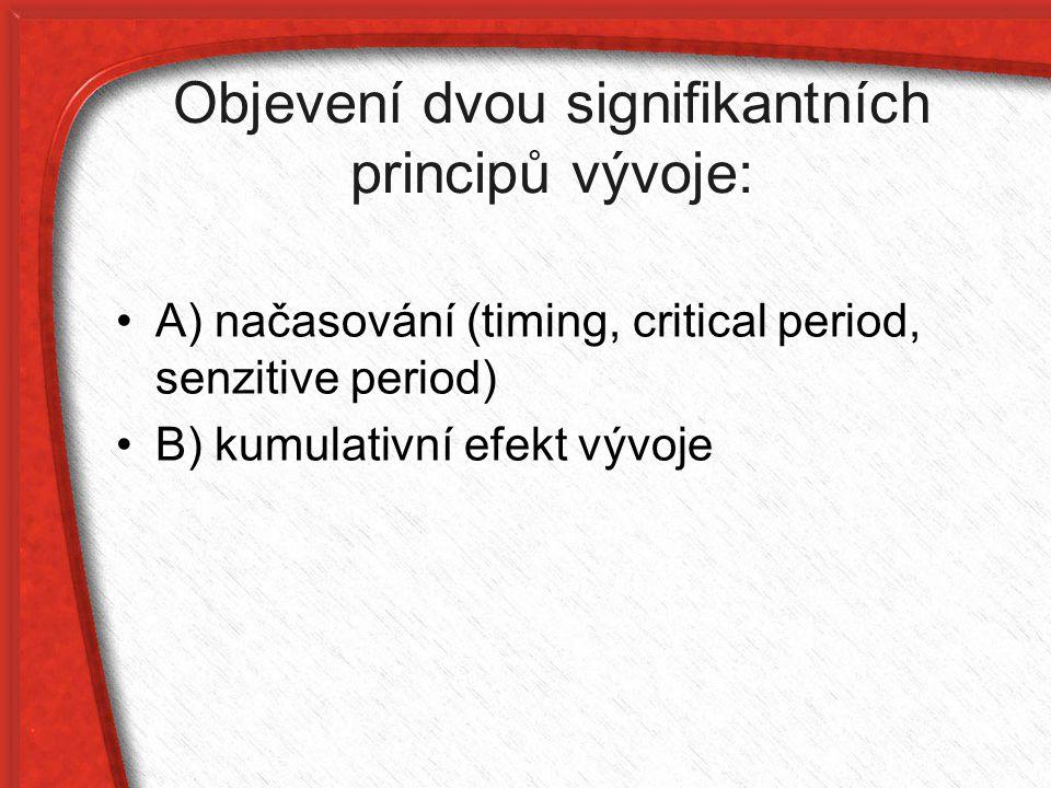 Objevení dvou signifikantních principů vývoje: A) načasování (timing, critical period, senzitive period) B) kumulativní efekt vývoje