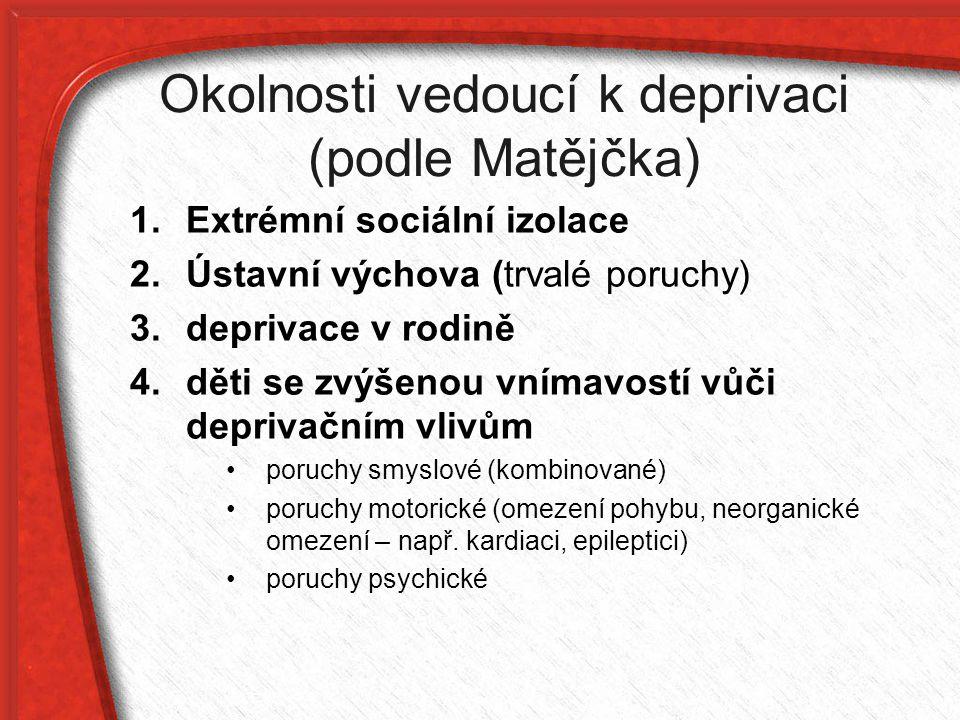 Okolnosti vedoucí k deprivaci (podle Matějčka) 1.Extrémní sociální izolace 2.Ústavní výchova (trvalé poruchy) 3. deprivace v rodině 4. děti se zvýšeno