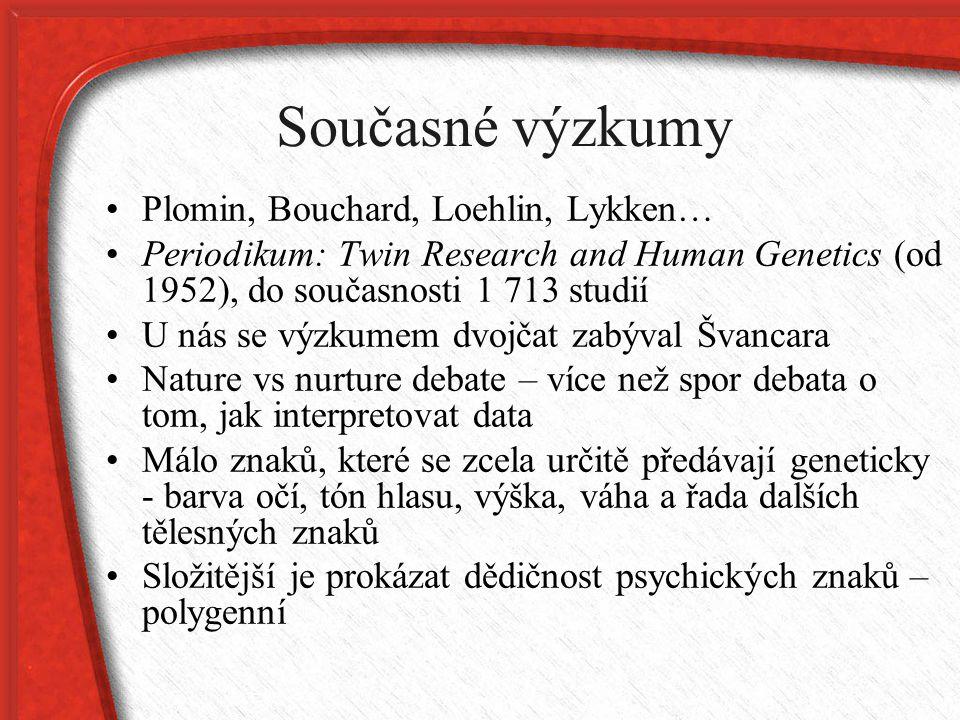 Současné výzkumy Plomin, Bouchard, Loehlin, Lykken… Periodikum: Twin Research and Human Genetics (od 1952), do současnosti 1 713 studií U nás se výzku