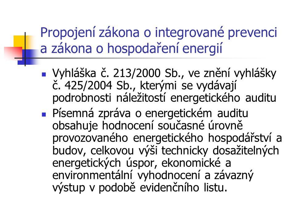 Propojení zákona o integrované prevenci a zákona o hospodaření energií Vyhláška č.