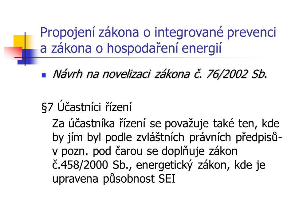 Propojení zákona o integrované prevenci a zákona o hospodaření energií Návrh na novelizaci zákona č.