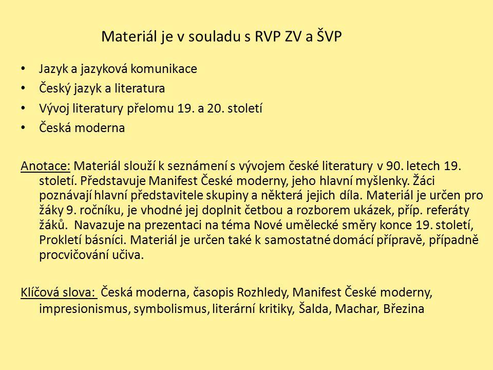 Materiál je v souladu s RVP ZV a ŠVP Jazyk a jazyková komunikace Český jazyk a literatura Vývoj literatury přelomu 19. a 20. století Česká moderna Ano