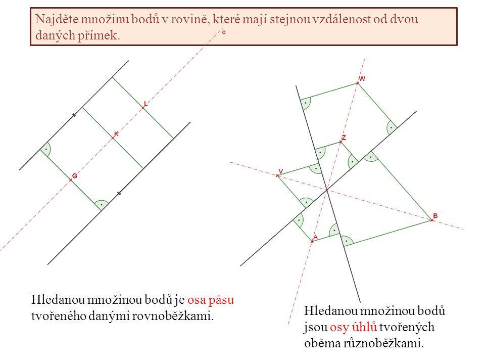 Najděte množinu bodů v rovině, které mají stejnou vzdálenost od dvou daných přímek.