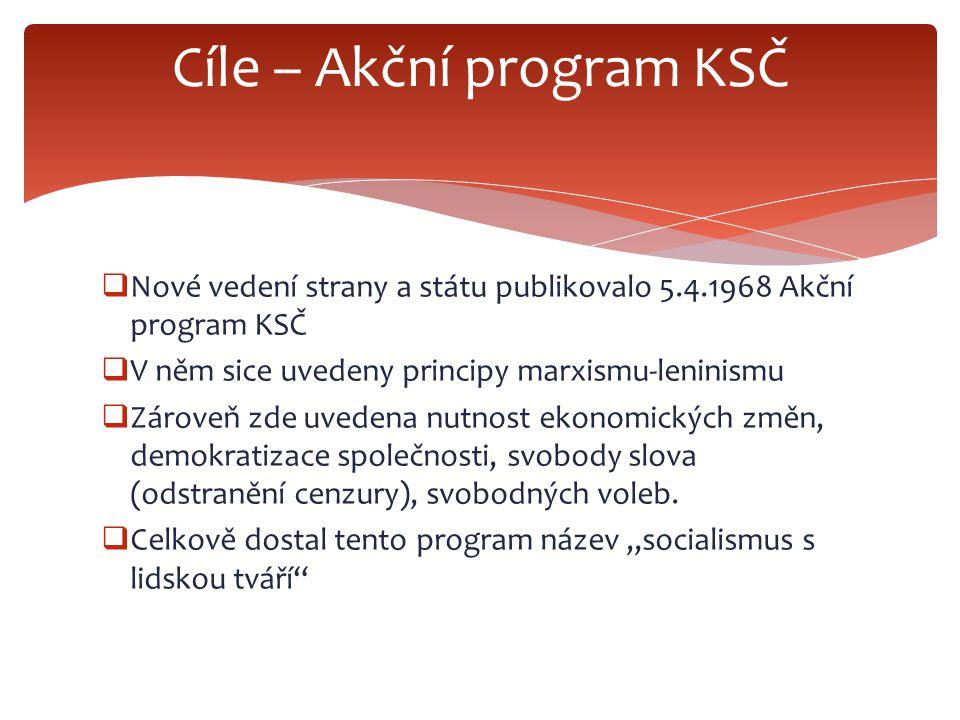  Nové vedení strany a státu publikovalo 5.4.1968 Akční program KSČ  V něm sice uvedeny principy marxismu-leninismu  Zároveň zde uvedena nutnost eko