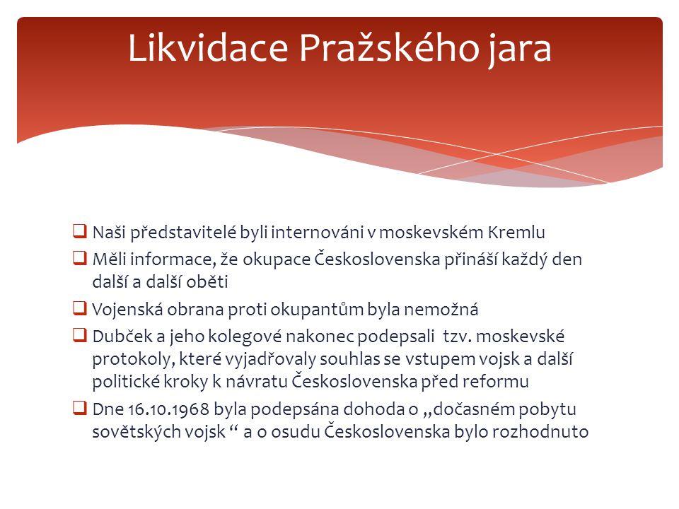  Naši představitelé byli internováni v moskevském Kremlu  Měli informace, že okupace Československa přináší každý den další a další oběti  Vojenská