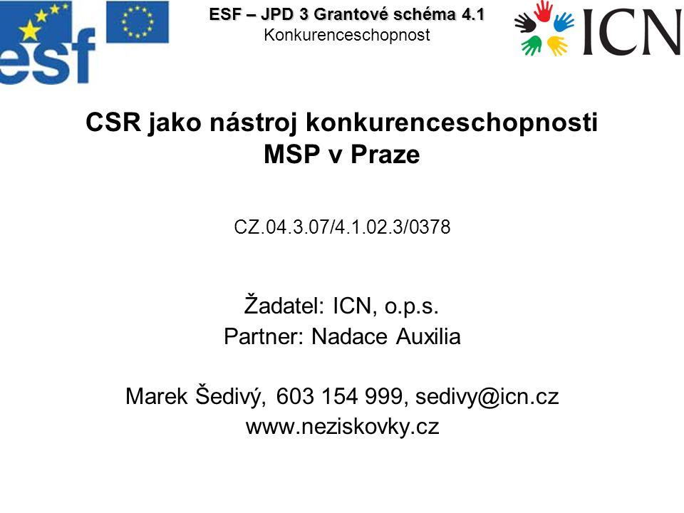 CSR jako nástroj konkurenceschopnosti MSP v Praze CZ.04.3.07/4.1.02.3/0378 Žadatel: ICN, o.p.s.