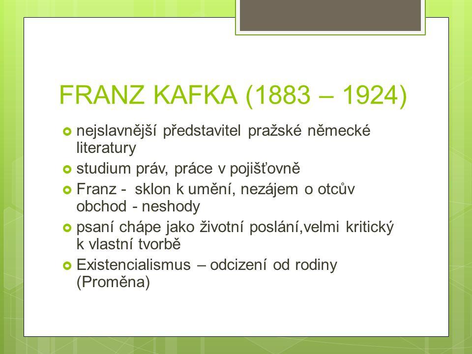 FRANZ KAFKA (1883 – 1924)  nejslavnější představitel pražské německé literatury  studium práv, práce v pojišťovně  Franz - sklon k umění, nezájem o