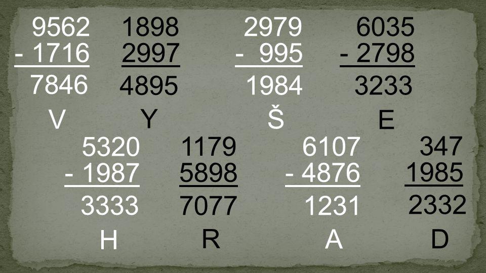 2997 1898 - 1716 9562 - 995 2979 5898 1179 - 4876 6107 - 2798 6035 - 1987 5320 1985 347 7846 V 3333 H 1231 A Š 1984 4895 Y E 3233 2332 D 7077 R
