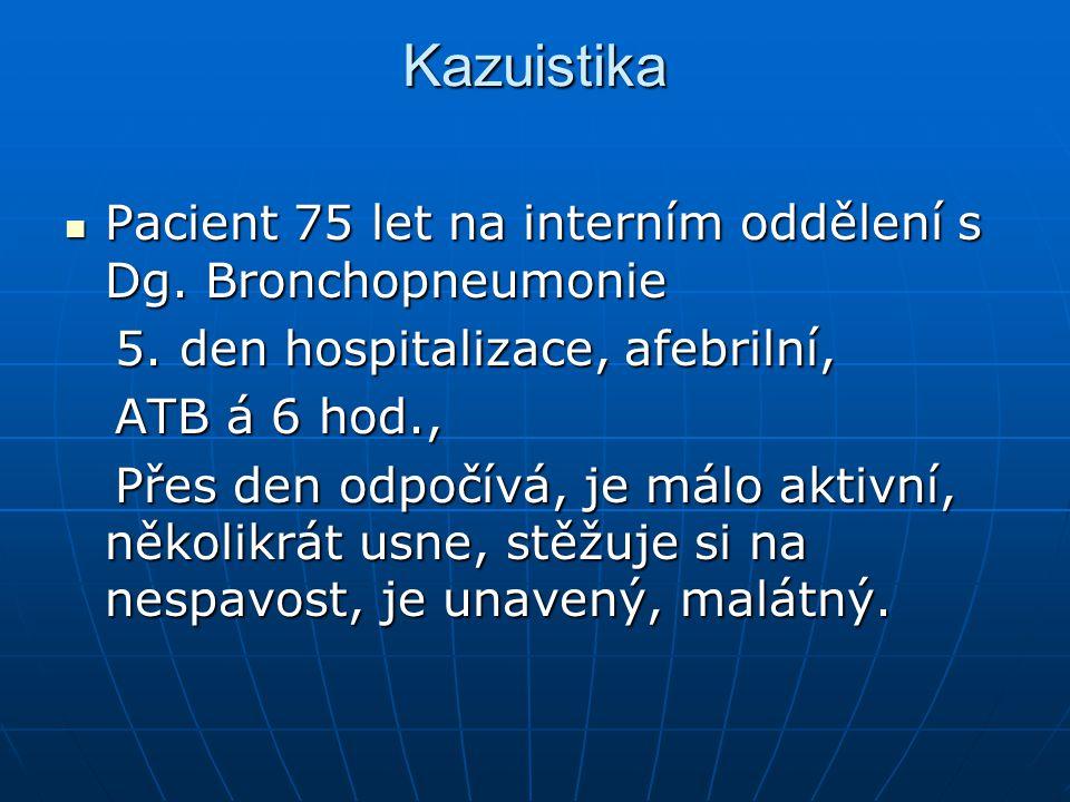 Kazuistika K Pacient 75 let na interním oddělení s Dg. Bronchopneumonie Pacient 75 let na interním oddělení s Dg. Bronchopneumonie 5. den hospitalizac