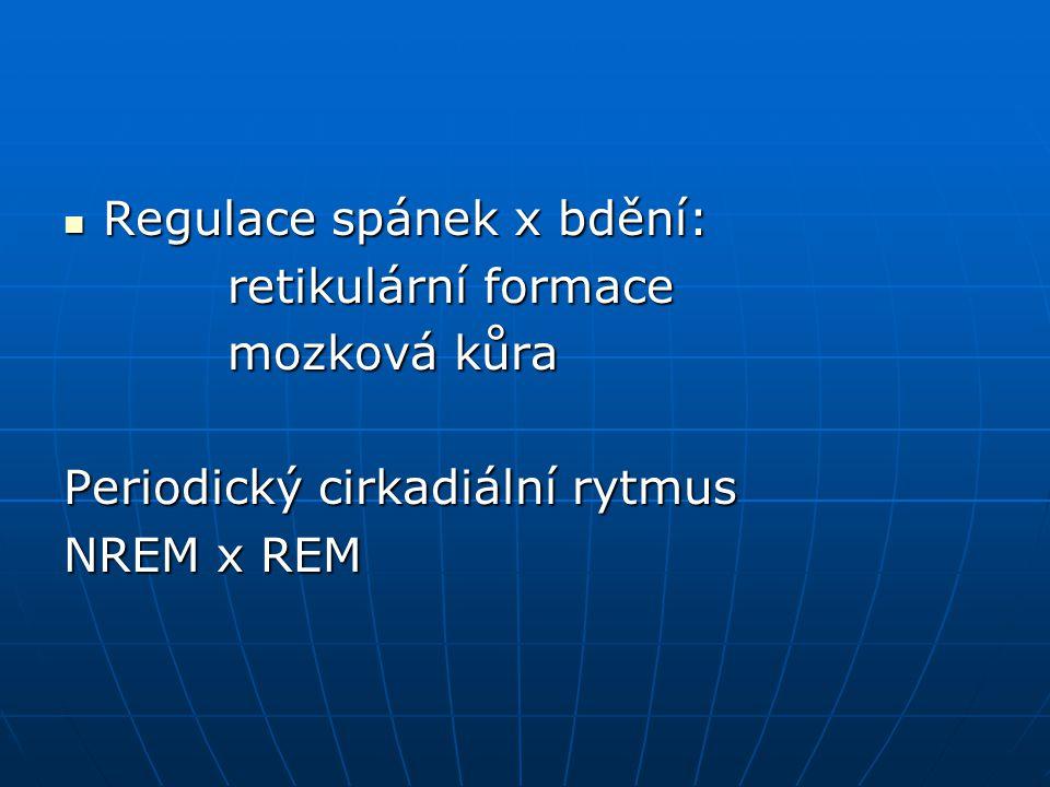 Regulace spánek x bdění: Regulace spánek x bdění: retikulární formace retikulární formace mozková kůra mozková kůra Periodický cirkadiální rytmus NREM