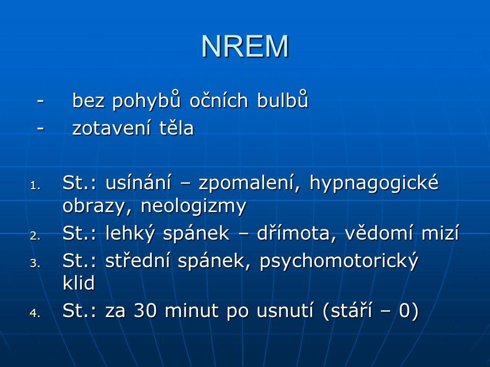 NREM - bez pohybů očních bulbů - bez pohybů očních bulbů - zotavení těla - zotavení těla 1. St.: usínání – zpomalení, hypnagogické obrazy, neologizmy