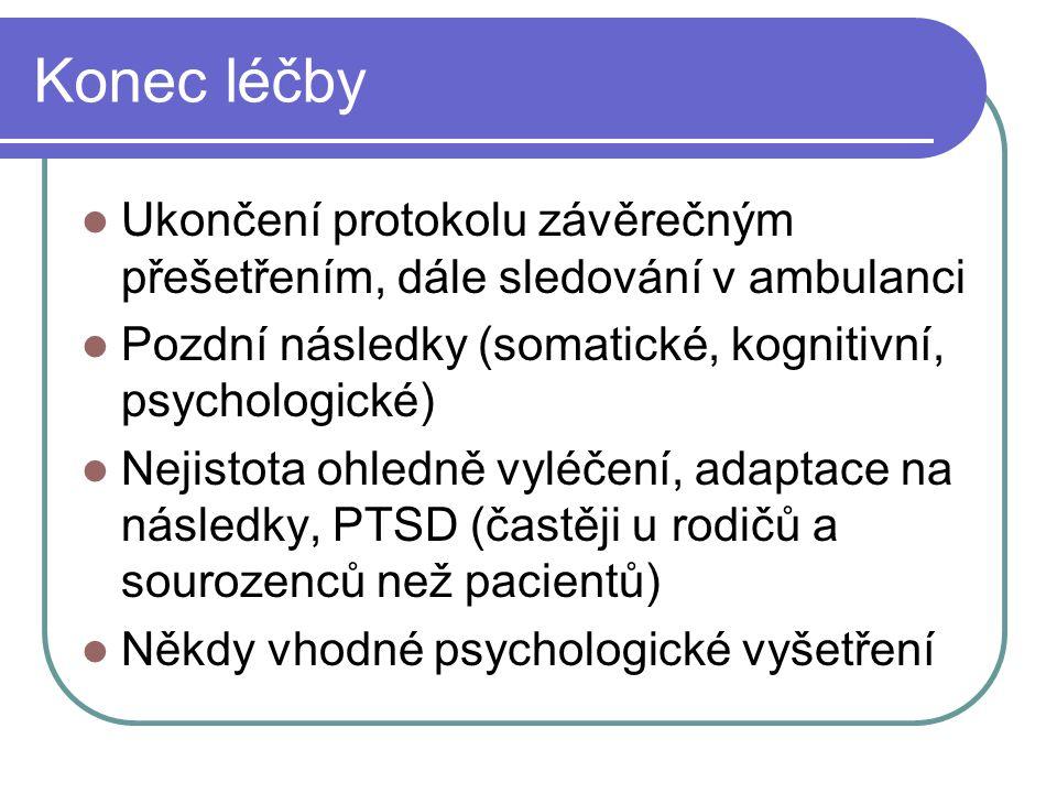 Konec léčby Ukončení protokolu závěrečným přešetřením, dále sledování v ambulanci Pozdní následky (somatické, kognitivní, psychologické) Nejistota ohl