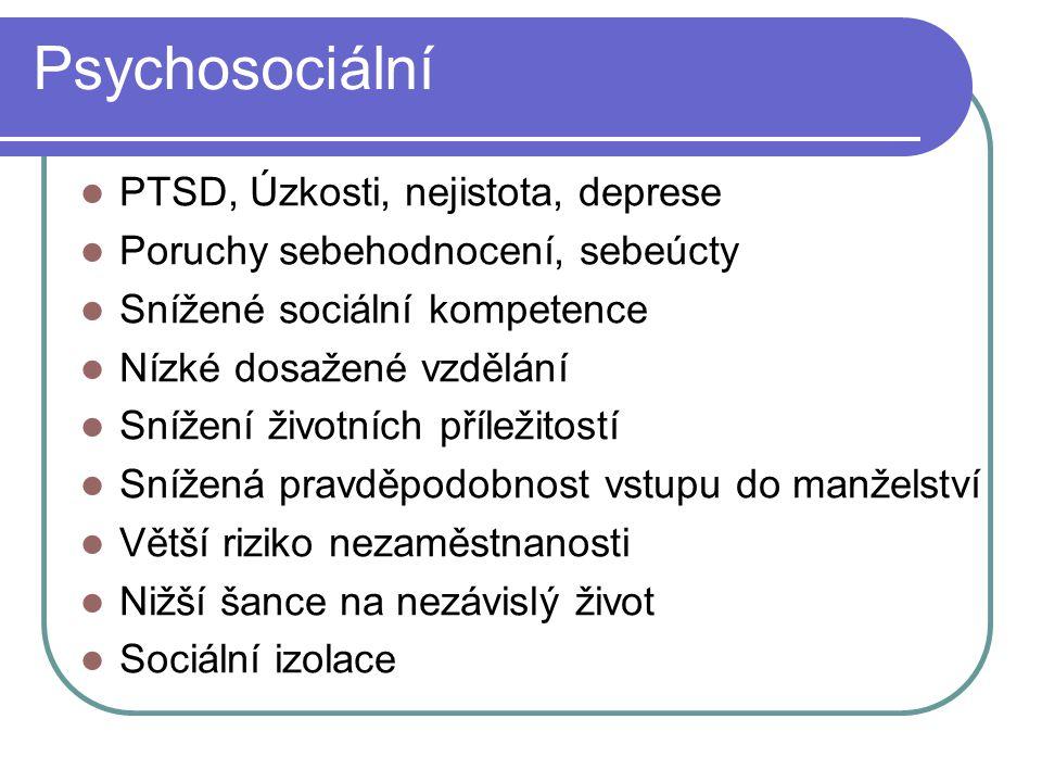 Psychosociální PTSD, Úzkosti, nejistota, deprese Poruchy sebehodnocení, sebeúcty Snížené sociální kompetence Nízké dosažené vzdělání Snížení životních