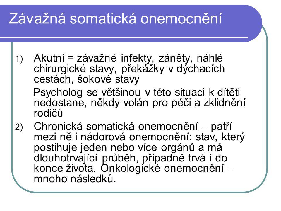 Závažná somatická onemocnění 1) Akutní = závažné infekty, záněty, náhlé chirurgické stavy, překážky v dýchacích cestách, šokové stavy Psycholog se vět