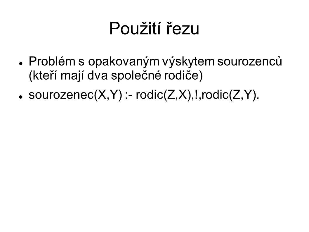 Použití řezu Problém s opakovaným výskytem sourozenců (kteří mají dva společné rodiče) sourozenec(X,Y) :- rodic(Z,X),!,rodic(Z,Y).