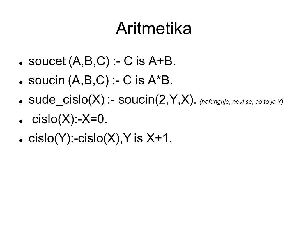 Aritmetika soucet (A,B,C) :- C is A+B. soucin (A,B,C) :- C is A*B.