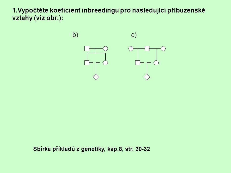 1.Vypočtěte koeficient inbreedingu pro následující příbuzenské vztahy (viz obr.): b) c) Sbírka příkladů z genetiky, kap.8, str. 30-32