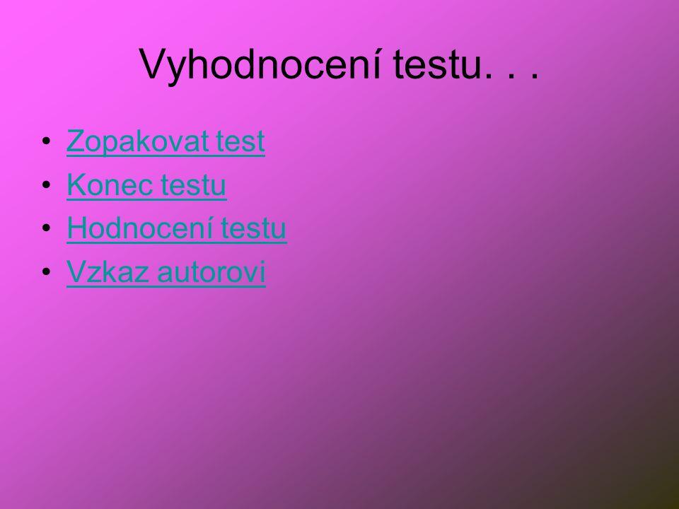 Vyhodnocení testu... Zopakovat test Konec testu Hodnocení testu Vzkaz autorovi