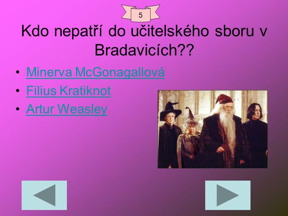 Kdo nepatří do učitelského sboru v Bradavicích?? Minerva McGonagallová Filius Kratiknot Artur Weasley 5