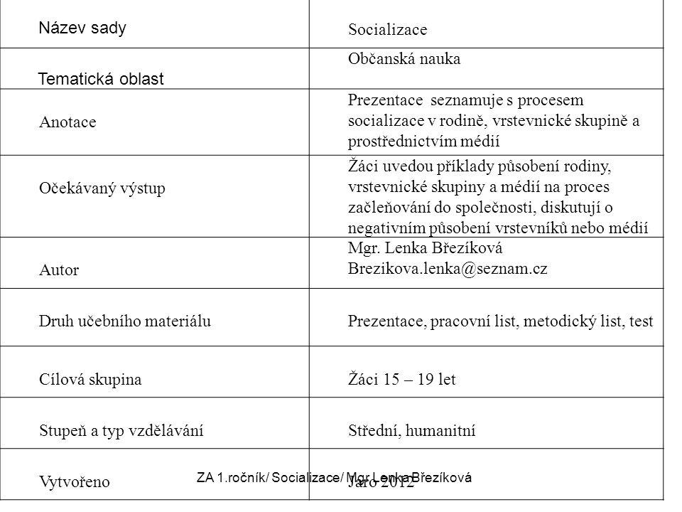 Název sady Socializace Tematická oblast Občanská nauka Anotace Prezentace seznamuje s procesem socializace v rodině, vrstevnické skupině a prostřednic