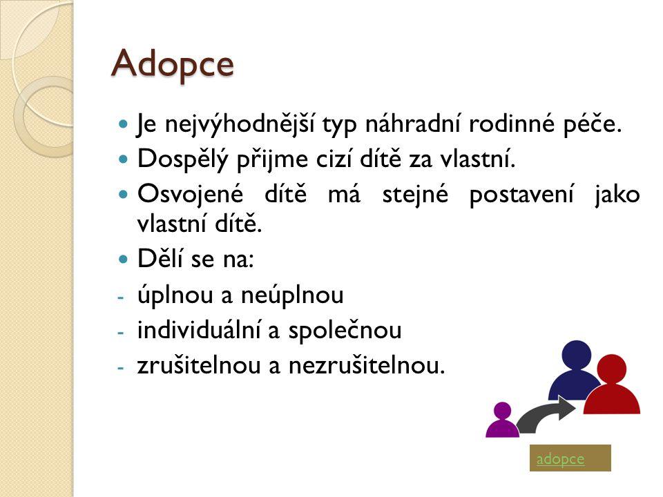 Adopce Je nejvýhodnější typ náhradní rodinné péče.