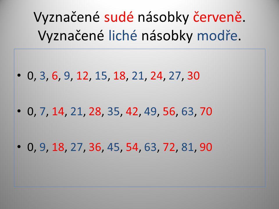 Vyznačené sudé násobky červeně. Vyznačené liché násobky modře. 0, 3, 6, 9, 12, 15, 18, 21, 24, 27, 30 0, 7, 14, 21, 28, 35, 42, 49, 56, 63, 70 0, 9, 1