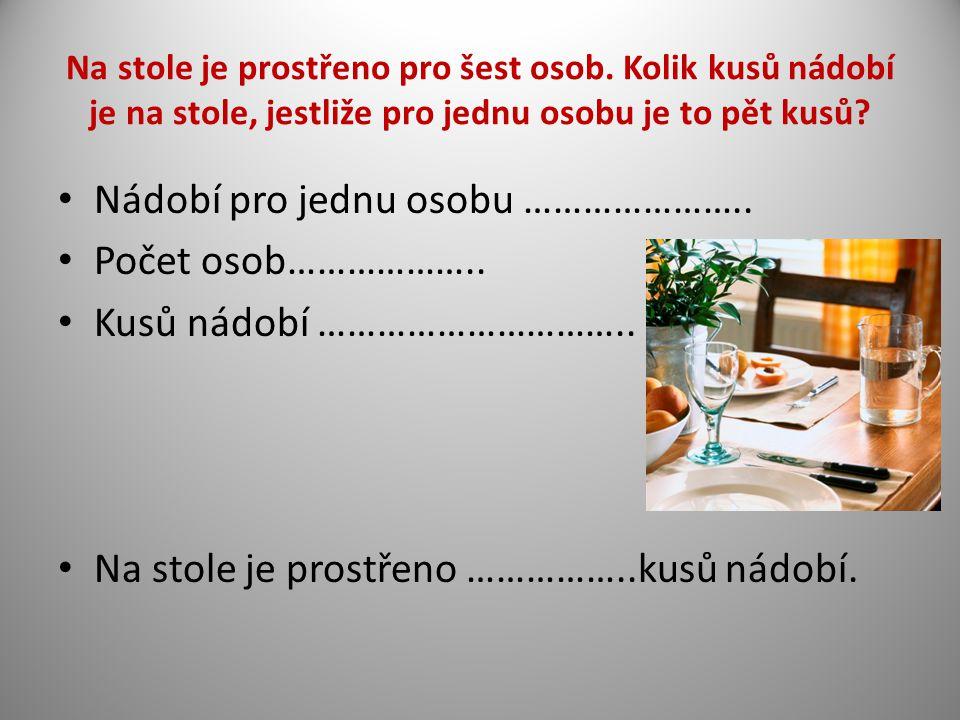 Na stole je prostřeno pro šest osob. Kolik kusů nádobí je na stole, jestliže pro jednu osobu je to pět kusů? Nádobí pro jednu osobu ………………….. Počet os