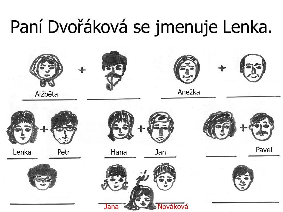 Paní Dvořáková se jmenuje Lenka. JanaNováková Alžběta PetrJan Anežka Hana Pavel Lenka