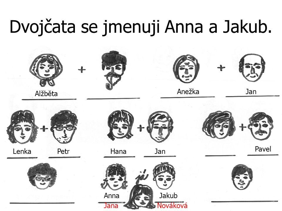 Dvojčata se jmenuji Anna a Jakub. JanaNováková Alžběta PetrJan Anežka Hana Pavel Lenka Jan AnnaJakub