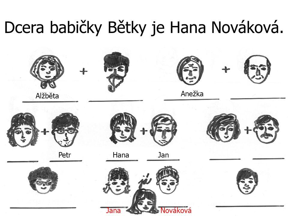 Dcera babičky Bětky je Hana Nováková. JanaNováková Alžběta PetrJan Anežka Hana