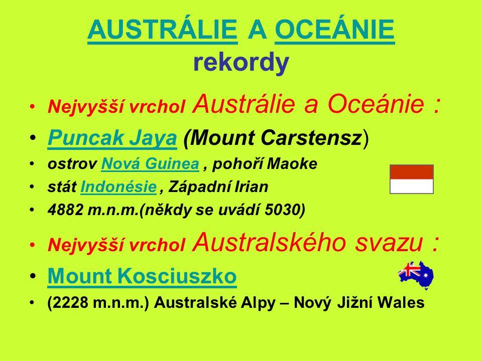 AUSTRÁLIEAUSTRÁLIE A OCEÁNIE rekordyOCEÁNIE Nejdelší řeka : Murray, Austrálie, délka 2570 kmMurray Murray,(-Darling) 3450km (W15) (W15) plocha povodí – 1,1 mil.km 2 hranice Nový Jižní Wales a Viktorie ústí do Indického oceánu (Jižní Austrálie) Největší jezero : Eyre, Austrálie, 9500 km² (max)Eyre stát Jižní Austrálie slané, bezodtoké hladina jezera - nejnižší bod Austrálie (-16)