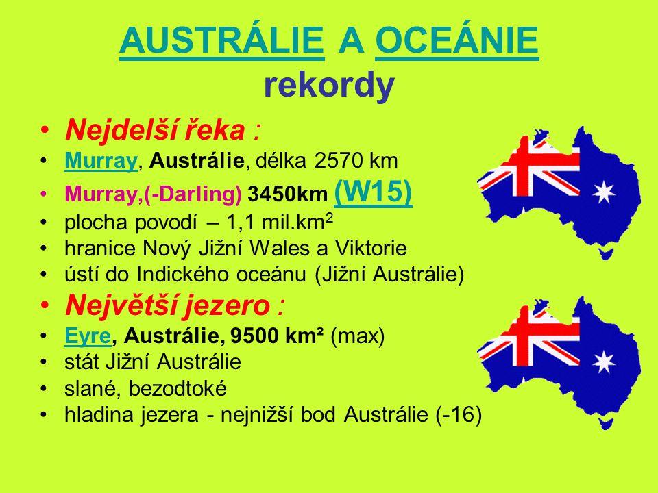 AUSTRÁLIEAUSTRÁLIE A OCEÁNIE rekordyOCEÁNIE Největší státy podle rozlohy : státvlajkarozloha (km 2 ) 1.Austrálie 7,7 mil.