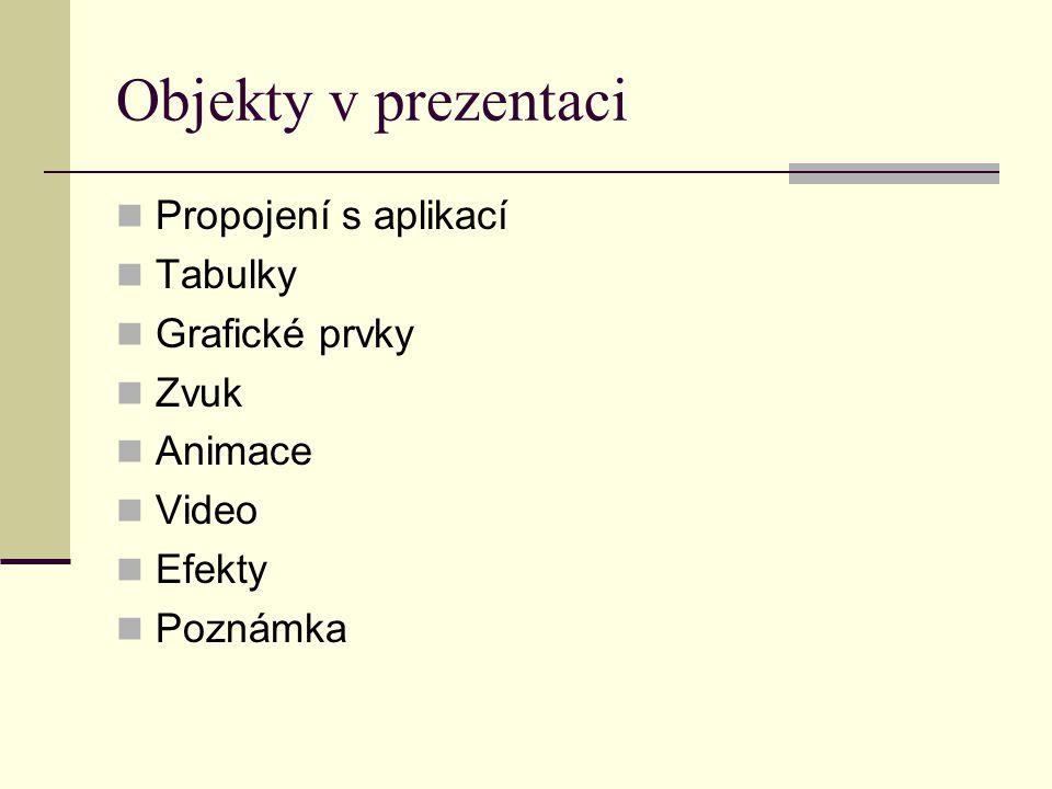 Objekty v prezentaci Propojení s aplikací Tabulky Grafické prvky Zvuk Animace Video Efekty Poznámka