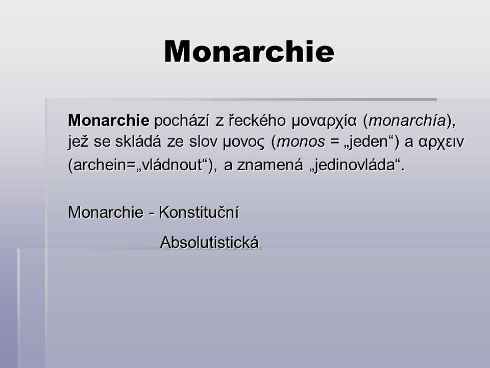"""Monarchie Monarchie pochází z řeckého μοναρχία (monarchía), jež se skládá ze slov μονος (monos = """"jeden ) a αρχειν Monarchie pochází z řeckého μοναρχία (monarchía), jež se skládá ze slov μονος (monos = """"jeden ) a αρχειν (archein=""""vládnout ), a znamená """"jedinovláda ."""