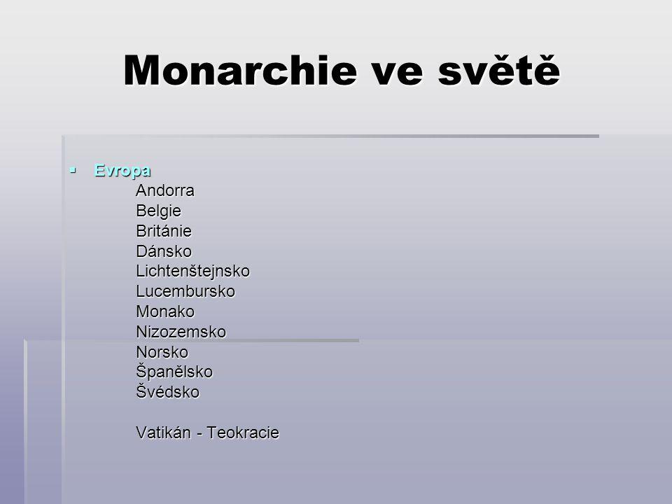 Monarchie ve světě  Evropa AndorraBelgieBritánieDánskoLichtenštejnskoLucemburskoMonakoNizozemskoNorskoŠpanělsko Švédsko Švédsko Vatikán - Teokracie