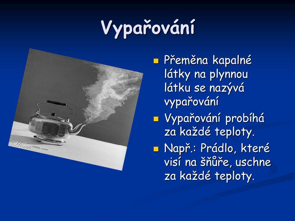 Sublimace Přeměna pevné látky na plynnou látku se nazývá sublimace. Sublimují např.: jód, naftalín, led za mrazu, salmiak.