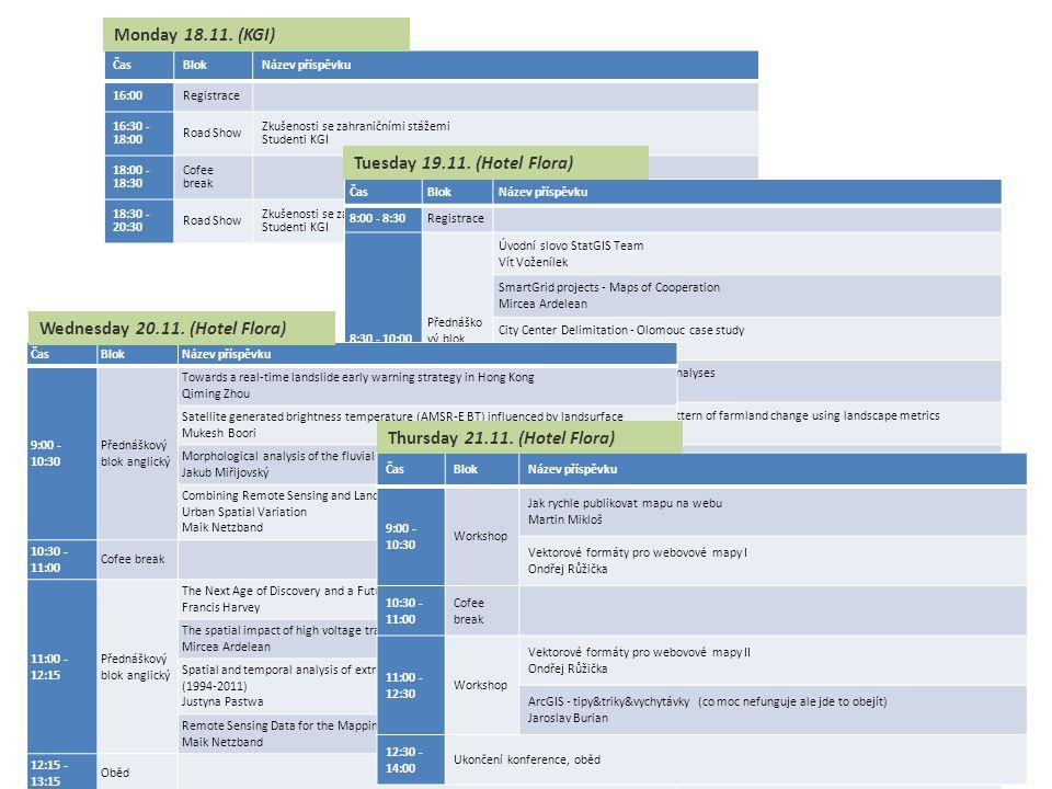 ČasBlokNázev příspěvku 16:00Registrace 16:30 - 18:00 Road Show Zkušenosti se zahraničními stážemi Studenti KGI 18:00 - 18:30 Cofee break 18:30 - 20:30