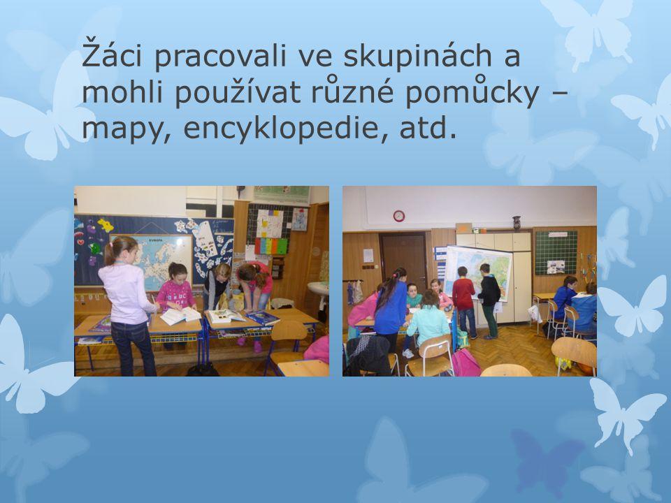 Žáci pracovali ve skupinách a mohli používat různé pomůcky – mapy, encyklopedie, atd.