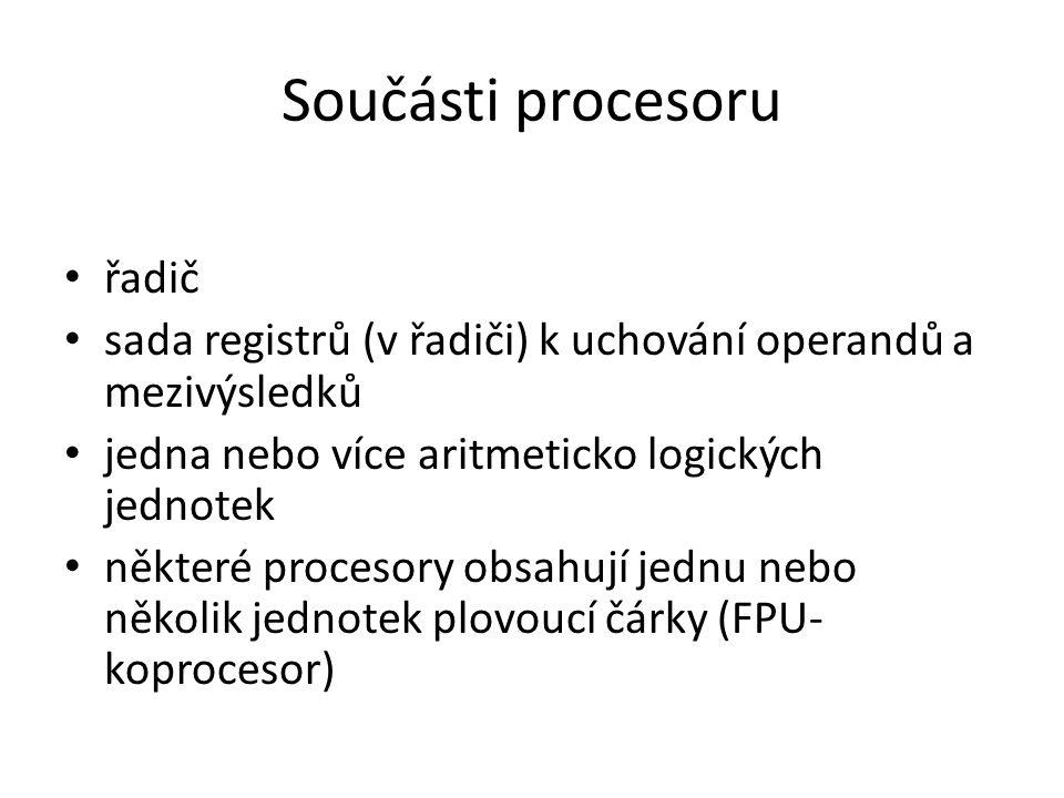 Součásti procesoru řadič sada registrů (v řadiči) k uchování operandů a mezivýsledků jedna nebo více aritmeticko logických jednotek některé procesory