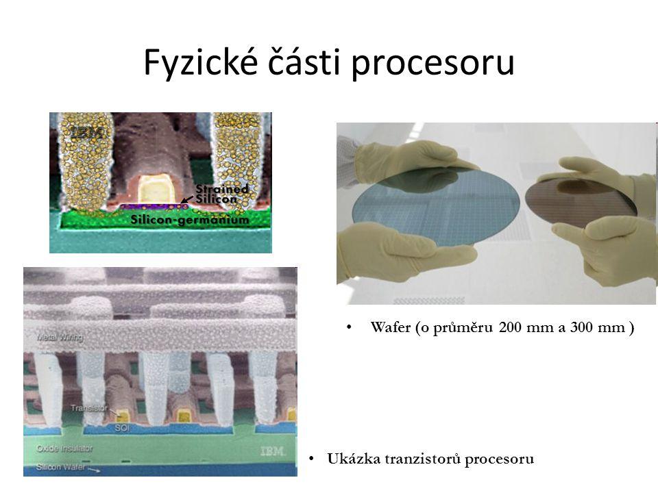 Fyzické části procesoru Wafer (o průměru 200 mm a 300 mm ) Ukázka tranzistorů procesoru