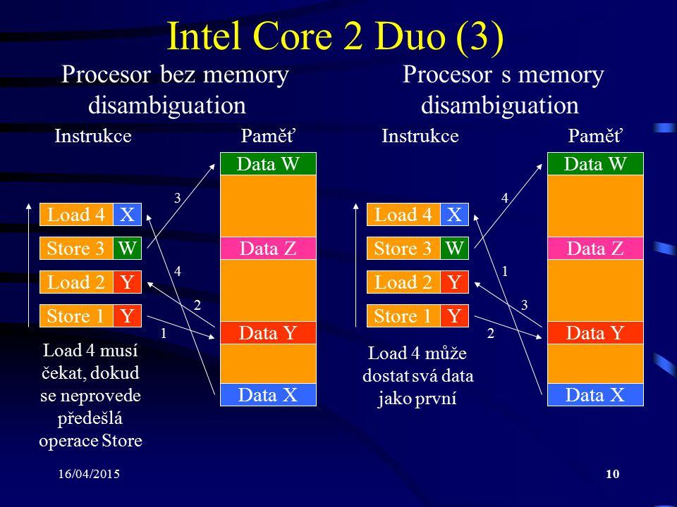 16/04/201510 Intel Core 2 Duo (3) Procesor bez memory Procesor s memory disambiguation disambiguation Load 4X Store 3W Load 2Y Store 1Y Data W Data Y
