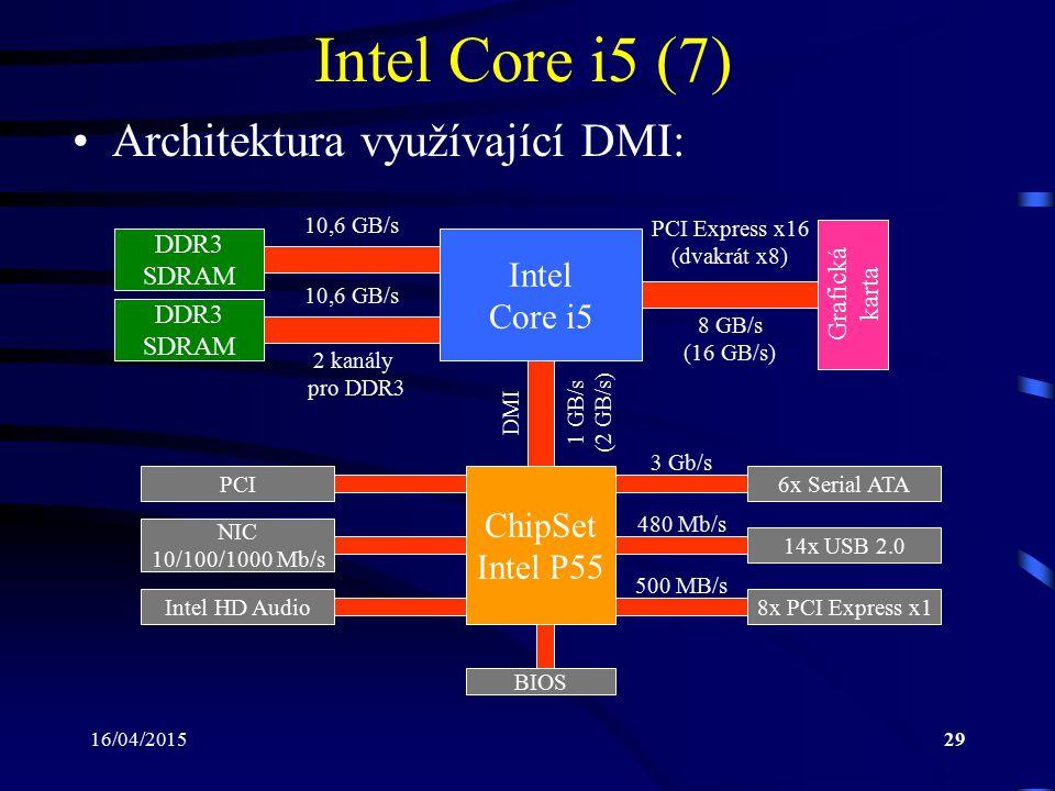 16/04/201529 Intel Core i5 (7) Architektura využívající DMI: ChipSet Intel P55 Intel Core i5 DDR3 SDRAM Grafická karta DDR3 SDRAM 2 kanály pro DDR3 10
