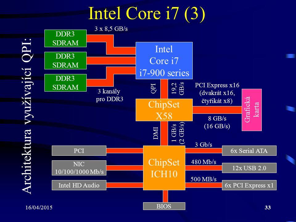 16/04/201533 Intel Core i7 (3) Architektura využívající QPI: ChipSet ICH10 Intel Core i7 i7-900 series DDR3 SDRAM Grafická karta DDR3 SDRAM 3 kanály p